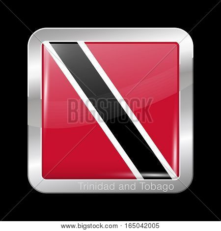 Flag Of Trinidad And Tobago. Metal Icon Square Shape