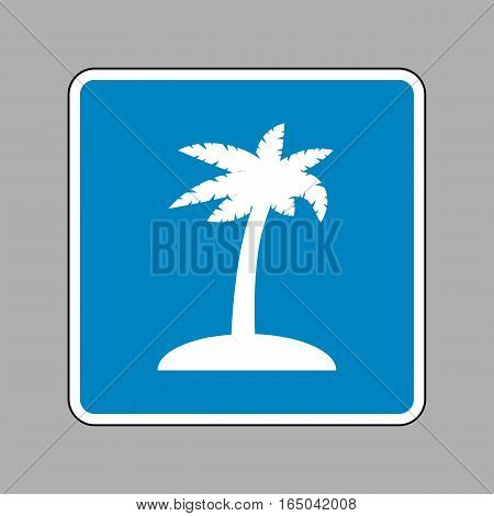 Coconut palm tree sign. White icon on blue sign as background.