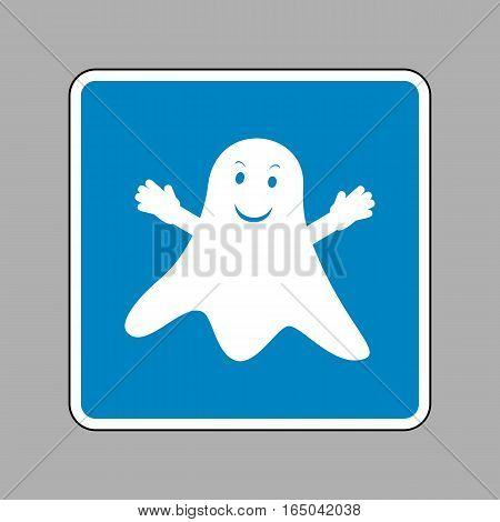 Ghost isolated sign. White icon on blue sign as background.