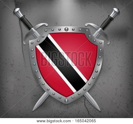 Flag Of Trinidad And Tobago. Vector Medieval Background