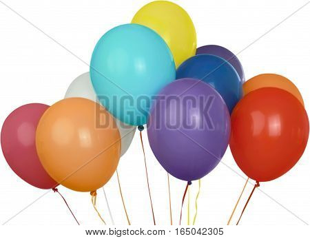 Assortment of floating party balloons - isolated image