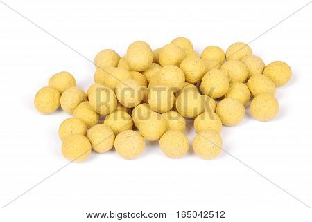 Close up view of fishing baits for carp. Accessories for carp fishing isolated on white background.