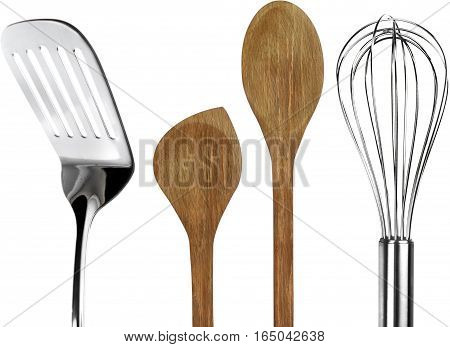 Spatula with Wooden Spoons and Wire Whisk - Isolated