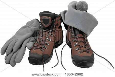 Hiking Boots with Gloves and Cap - Isolated