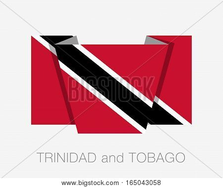 Flag Of Trinidad And Tobago. Flat Icon Wavering Flag With Country Name