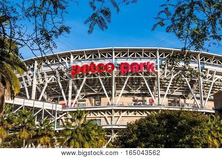 SAN DIEGO, CALIFORNIA - JANUARY 8, 2017: The Petco Park baseball stadium, home of the San Diego Padres MLB team.