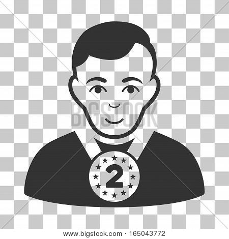 2nd Prizer Sportsman vector icon. Illustration style is flat iconic gray symbol on a chess transparent background.