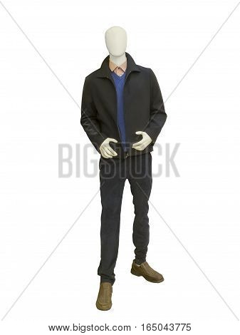 Full-length male mannequin dressed in black jacket and trousers. No brand names or copyright objects.