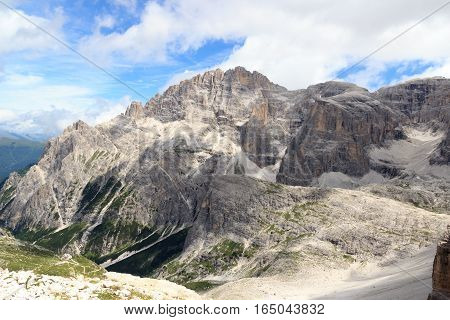 Mountain Elferkofel Panorama And Alpine Hut Zsigmondyhutte In Sexten Dolomites, South Tyrol, Italy