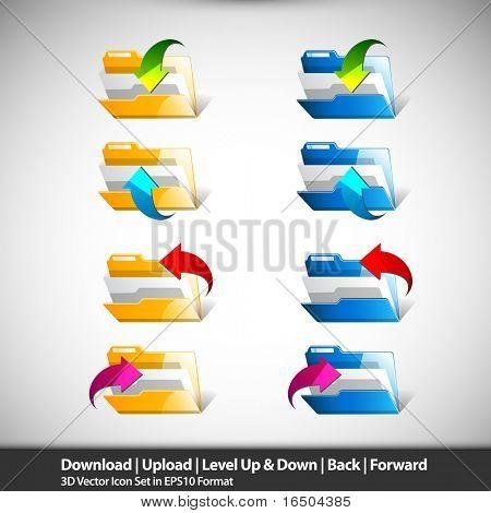 Folder Actions | Download, Upload, Back & Forward Icons | 3D Vectors EPS10