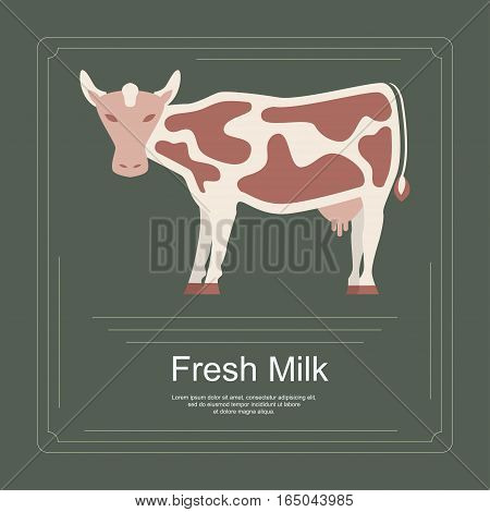 Logotype of fresh milk with cow in flat design. Perfect organic farm products banner or flyer. Vector illustration. eps 10