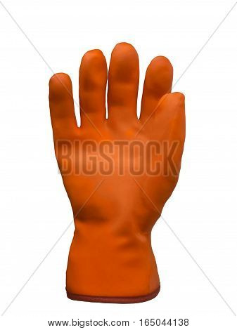 Orange rubber protective glove isolated on white background.