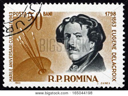 ROMANIA - CIRCA 1963: a stamp printed in Romania shows Eugene Delacroix French Romantic Painter circa 1963