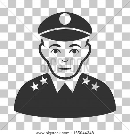Army General vector pictogram. Illustration style is flat iconic gray symbol on a chess transparent background.