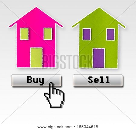 Buy or sell: this is the problem! Concept of choice image with two houses