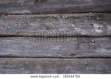 Background - old gray wall wooden frame. Country house.