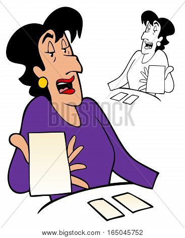 Witchy woman reading cards. The cards are blank, so you can put your own message or logo in.