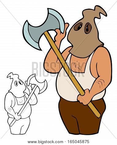 Cartoon executioner in a hood checking his blade