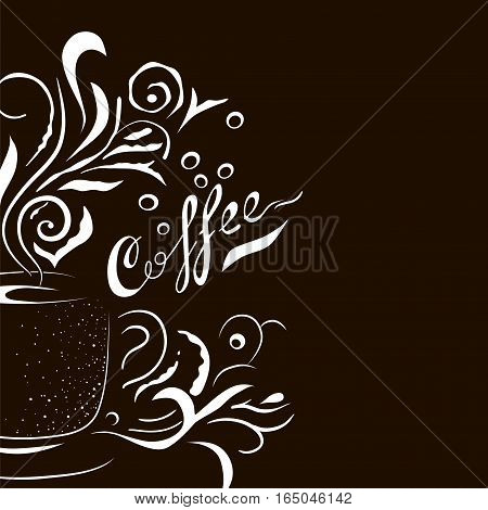 Hand Drawn Coffee Cup with Floral Design Elements. Sketch style template for menu, wall art or advertising