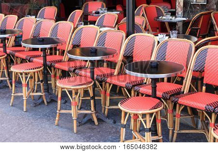 Tables in a typical parisian cafe in Paris, France