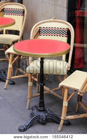 Table in a typical parisian cafe in Paris, France