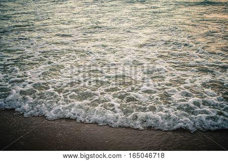 Waves were crashing ashore on sunset beach