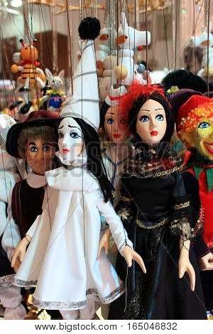 Many traditional puppets in a shop in Prague, Czech Republic