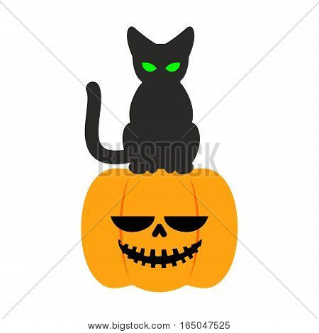 Pumpkin And Black Cat Halloween Symbol. Terrible Holiday