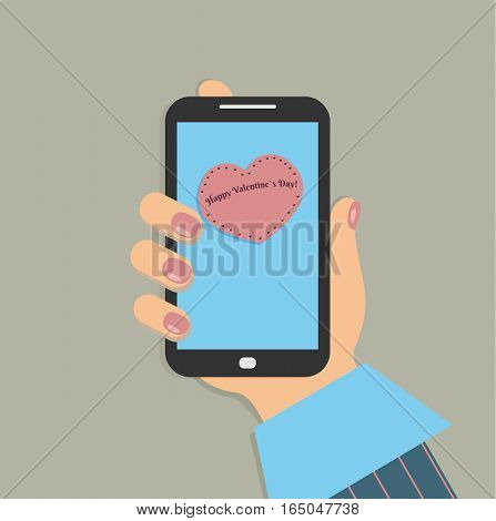 A mobile phone in the female`s hand. A smartphone in businesswoman`s hand. A sleeve of blue shirt and a burgundy striped suit. Red nails. A massage