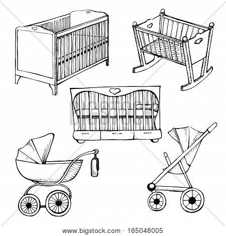 Set children's furniture. Vector illustration. Sketch different for child cots and prams