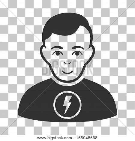 Power Man vector pictograph. Illustration style is flat iconic gray symbol on a chess transparent background.