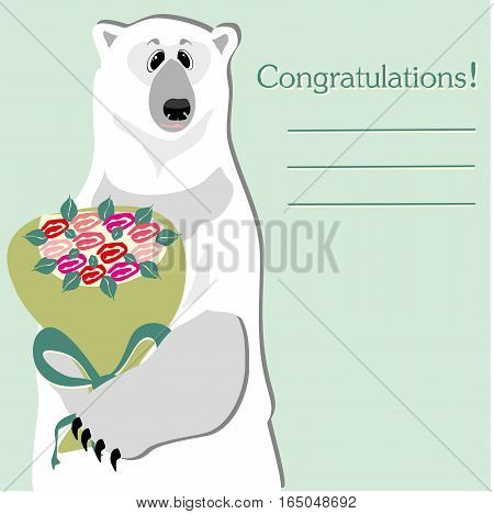 Congratulations card with polar bear with bouquet of flowers