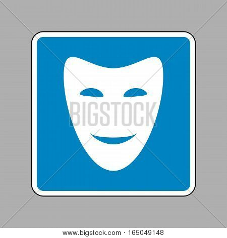 Comedy Theatrical Masks. White Icon On Blue Sign As Background.