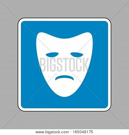 Tragedy Theatrical Masks. White Icon On Blue Sign As Background.