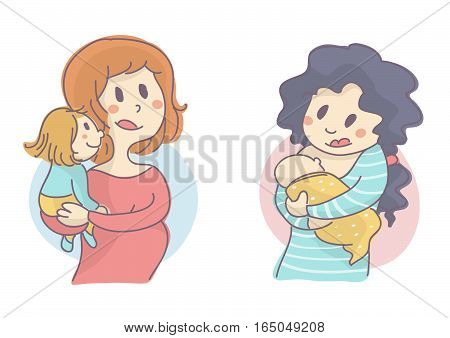 Set of two young mothers, one is pregnant and holding small child, the other is breastfeeding her baby, vector illustration, all on white background.