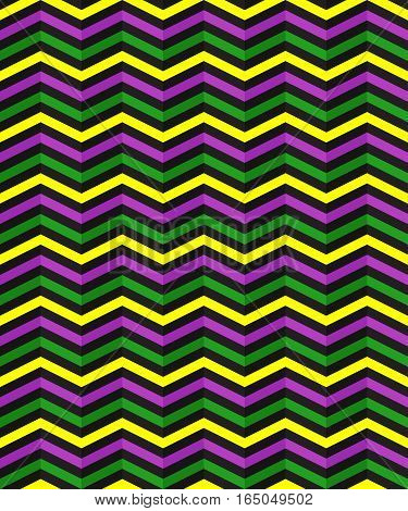 Seamless geometric pattern with zigzag stripes. Suitable for packaging wrapping paper wallpaper on Mardi Gras celebration. Vector EPS10.