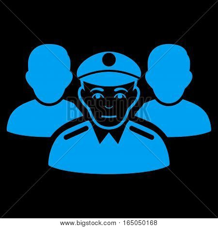 Army Team vector icon. Flat blue symbol. Pictogram is isolated on a black background. Designed for web and software interfaces.