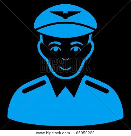 Aviator vector icon. Flat blue symbol. Pictogram is isolated on a black background. Designed for web and software interfaces.