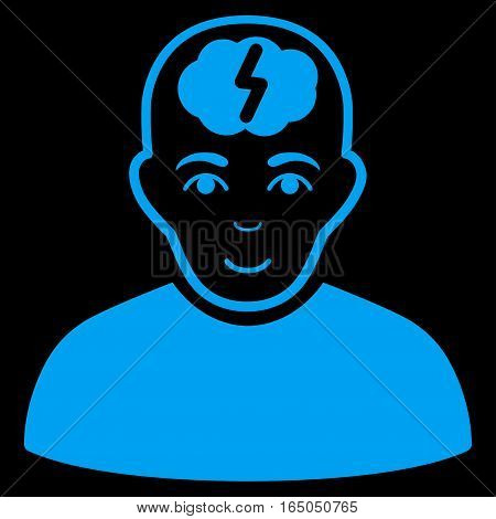 Clever Boy vector icon. Flat blue symbol. Pictogram is isolated on a black background. Designed for web and software interfaces.