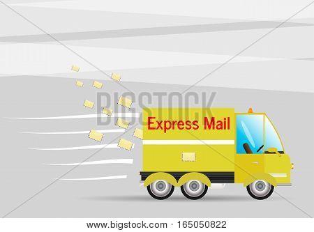Postage machine.Vector illustration writing transport machine truck