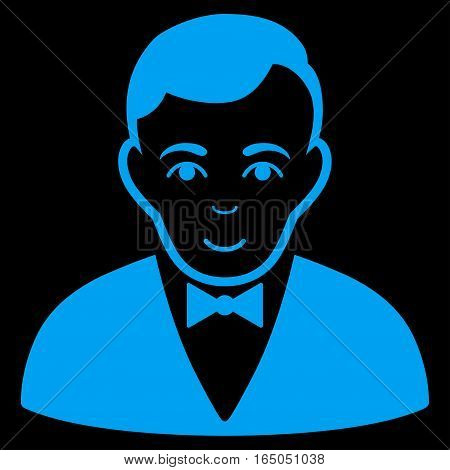 Dealer vector icon. Flat blue symbol. Pictogram is isolated on a black background. Designed for web and software interfaces.