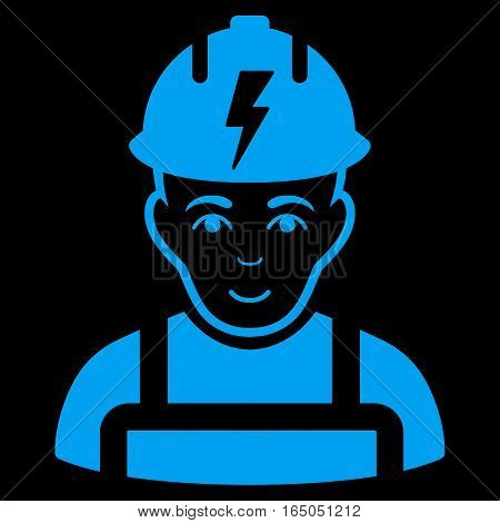Electrician vector icon. Flat blue symbol. Pictogram is isolated on a black background. Designed for web and software interfaces.