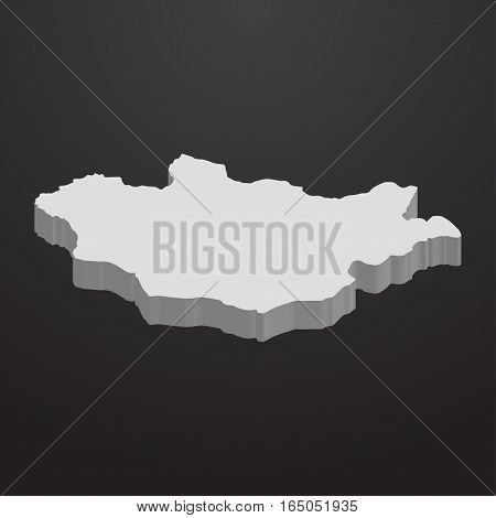 Mongolia map in gray on a black background 3d