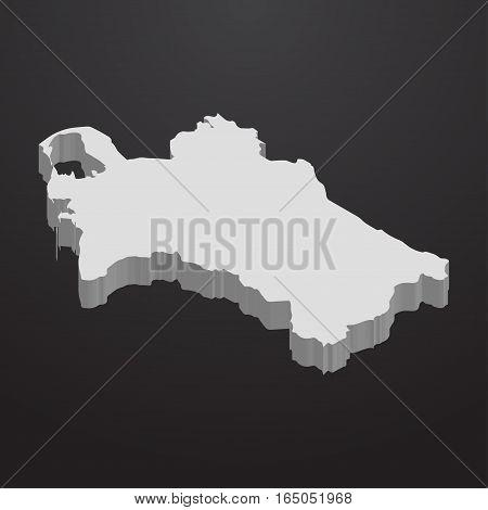Turkmenistan map in gray on a black background 3d