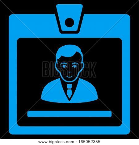 Manager Badge vector icon. Flat blue symbol. Pictogram is isolated on a black background. Designed for web and software interfaces.