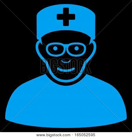 Medical Specialist vector icon. Flat blue symbol. Pictogram is isolated on a black background. Designed for web and software interfaces.