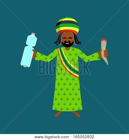Jah God For Rastafarian. Rasta Hat And Deredy. Bottle Of Water And Joint Or Spliff. Jamaican Deity