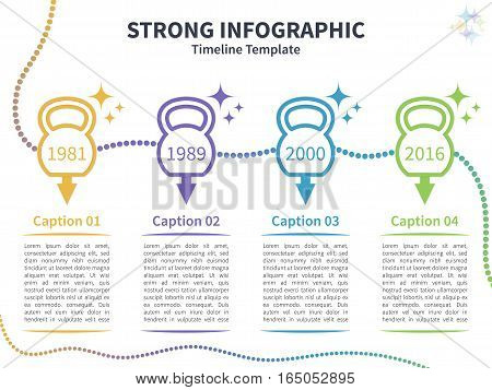 Vector infographic colorful template. Timeline concept with kettlebell stylized elements on the white background.
