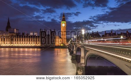 Big Ben and Parliament view at dusk. London UK