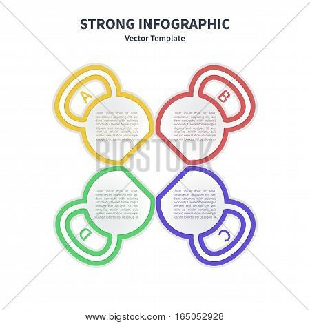 Vector infographic colorful template. Concept with kettlebell stylized elements on the white background.